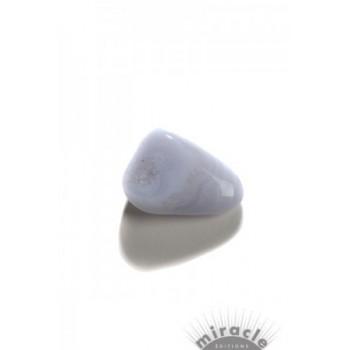 Calcédoine bleue, pierre roulée